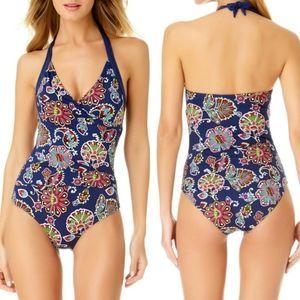 Liz Claiborne Navy Floral Paisley Halter Swimsuit